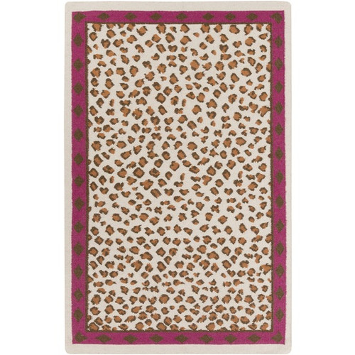 8' x 11' Captivating Cheetah Wine Red and Brown Hand Woven Wool Area Throw Rug - IMAGE 1