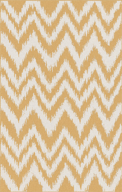 8' x 11' Chevron Shock Wave Gold and White Hand Woven Rectangular Wool Area Throw Rug - IMAGE 1