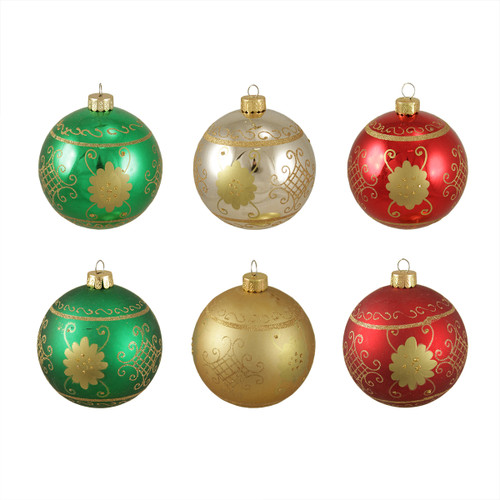 """6ct Multi-Color Shatterproof 2-Finish Christmas Ball Ornaments 3.25"""" (80mm) - IMAGE 1"""