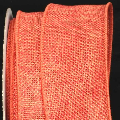 "Orange Fine Burlap Wired Craft Ribbon 2"" x 40 Yards - IMAGE 1"