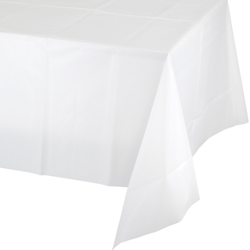 """Club Pack of 24 White Disposable Picnic Party Table Covers 108"""" - IMAGE 1"""