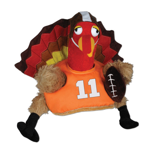 Pack of 4 Plush Football Turkey Touchdown Thanksgiving Party Hats – One Size Fits Most - IMAGE 1