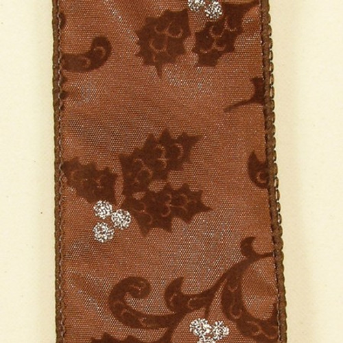 """Brown Metallic Holiday Swirling Leaves Wired Craft Ribbon 0.07"""" x 20 Yards - IMAGE 1"""