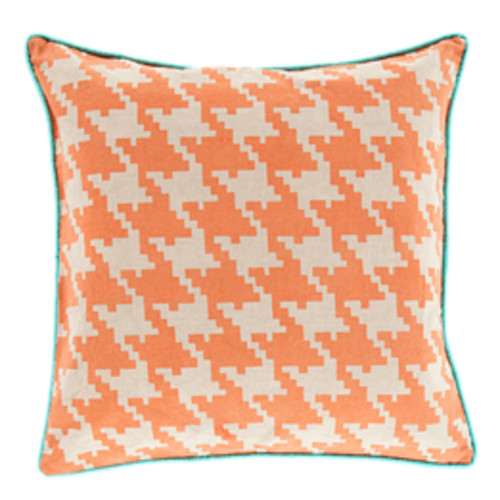 """22"""" Orange and Blue Square Throw Pillow - Down Filler - IMAGE 1"""