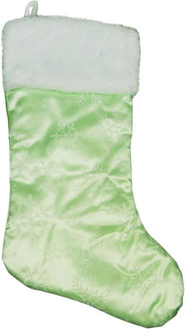 "20"" Mint Green Iridescent Glittered Snowflake Christmas Stocking - IMAGE 1"