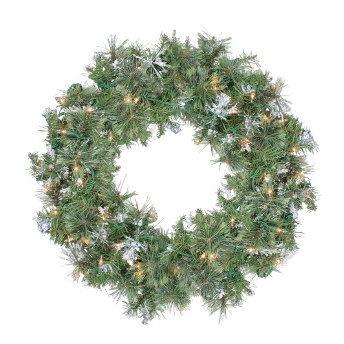 Pre-Lit Snow Mountain Pine Artificial Christmas Wreath - 24-Inch, Clear Lights - IMAGE 1