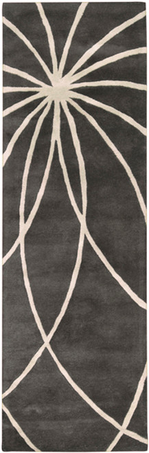3' x 12' Contemporary Gray and White Hand Tufted Wool Area Throw Rug Runner - IMAGE 1