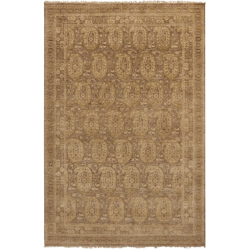8.5' x 11.5' Bronze Dignity Brown and Beige Hand Knotted Rectangular New Zealand Wool Area Throw Rug - IMAGE 1