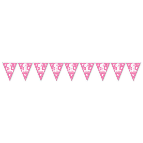"""Club Pack of 12 Pink and White """"1st Birthday"""" Pennant Banner Hanging Party Decorations 12' - IMAGE 1"""