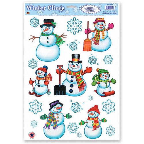"""Club Pack of 192 Snowman Family and Snowflakes Window Clings Christmas Decorations 17"""" - IMAGE 1"""