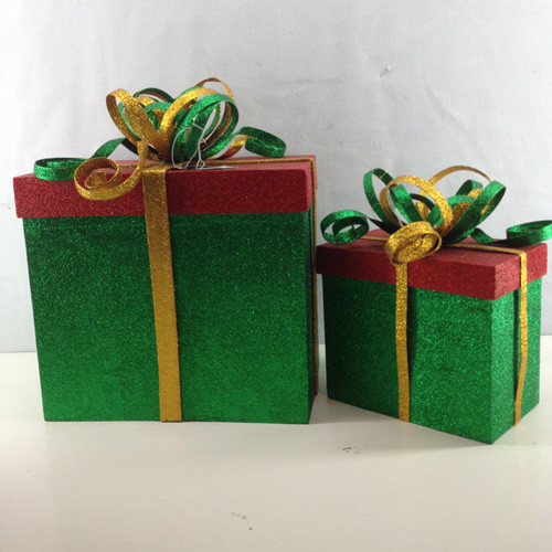 "Set of 2 Green and Red Glittered Gift Box Christmas Decors 14"" - IMAGE 1"