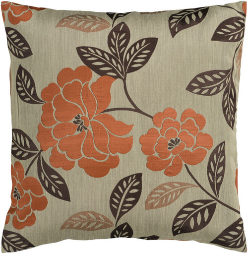 "18"" Orange and Brown Contemporary Floral Square Throw Pillow Cover - IMAGE 1"