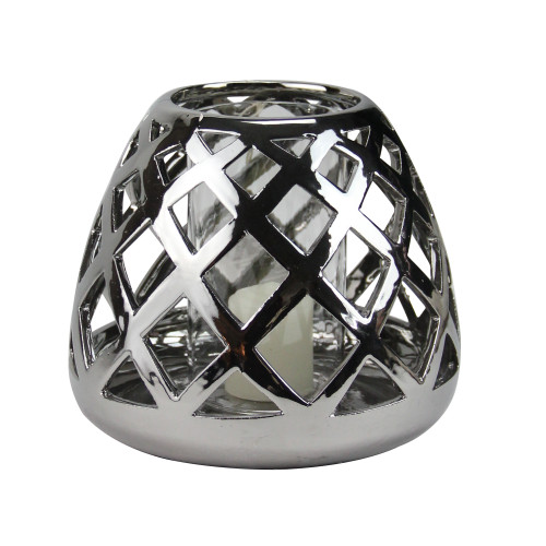 "7"" Beach Day Shiny Silver Diamond Cut-Out Tea Light or Votive Candle Holder - IMAGE 1"