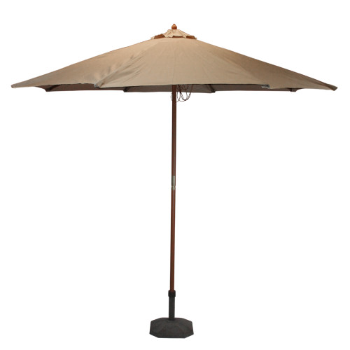 8' Outdoor Patio Market Umbrella, Beige Taupe and Cherry Wood - IMAGE 1