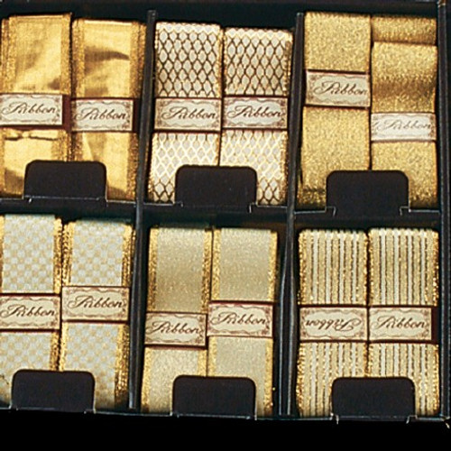 """36pc Ivory and Gold Contemporary Craft Ribbon 1.5"""" x 108 Yards - IMAGE 1"""