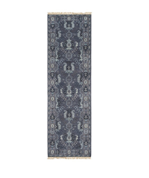 2.5' x 8' Slate Gray and Pewter Gray Rectangular Hand Knotted Wool Area Throw Rug Runner - IMAGE 1