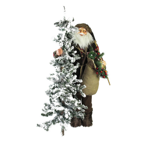 """48"""" Standing Woodland Santa Claus with Artificial Flocked Alpine Tree Christmas Figure - IMAGE 1"""