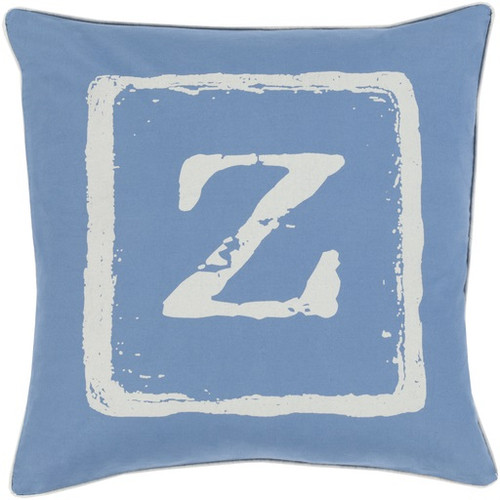 "18"" Cobalt Blue and Beige ""Z"" Contemporary Square Throw Pillow - Down Filler - IMAGE 1"