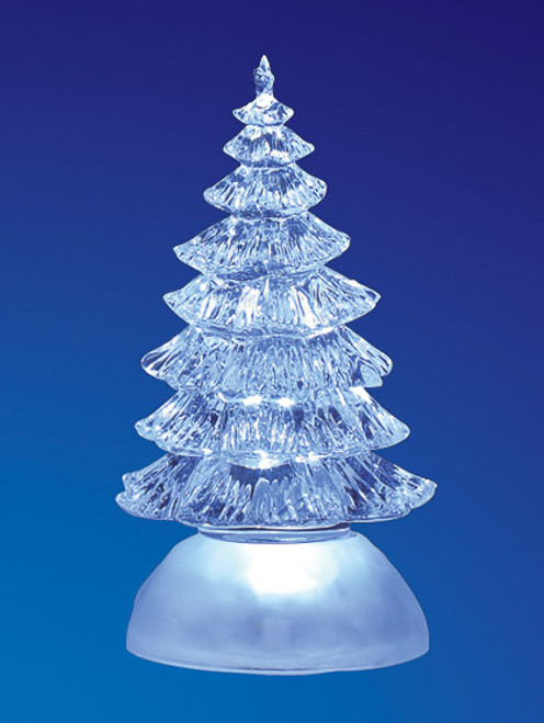 """Set of 4 Clear Decorative LED Lighted Traditional Christmas Tree Figurines 7"""" - IMAGE 1"""