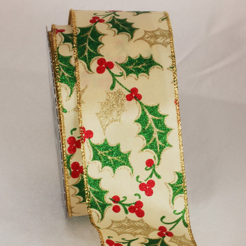 Gold and Green Mistletoe Wired Craft Ribbon 2.5 x 20 yards - IMAGE 1