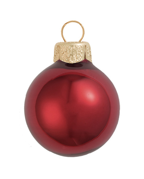 "6ct Burgundy Red Glass Pearl Christmas Ball Ornaments 4"" (100mm) - IMAGE 1"