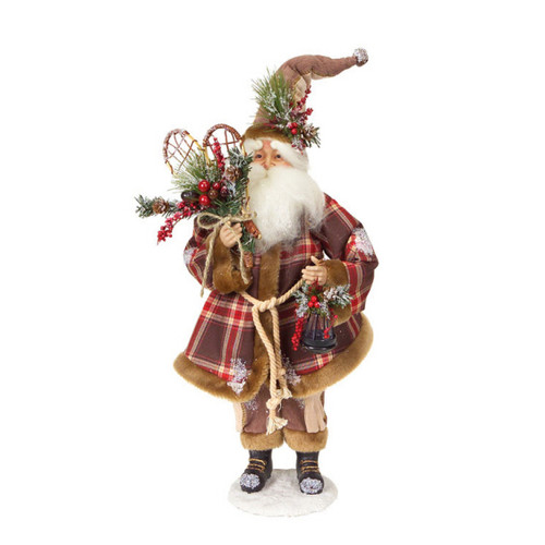 "20"" Red Modern Lodge Iced Santa Claus with Plaid Coat and Snow Shoes Christmas Figurine - IMAGE 1"