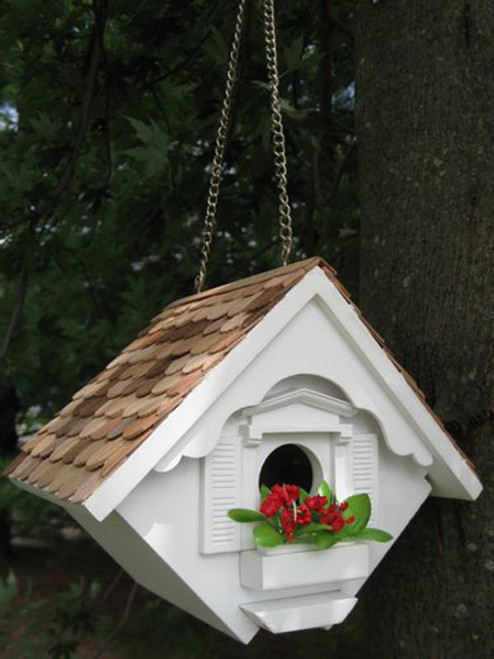 """8"""" White Country Cottage Outdoor Garden Birdhouse - IMAGE 1"""