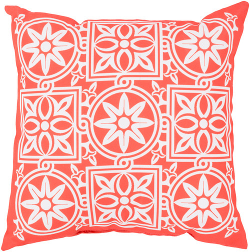 """18"""" Orange and Beige Contemporary Floral Maze Square Throw Pillow Cover - IMAGE 1"""