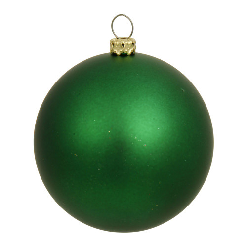 "Matte Green and Gold Shatterproof Christmas Ball Ornament 8"" (200mm) - IMAGE 1"