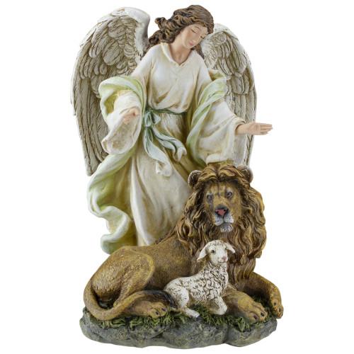 """Joseph's Studio Angel with Lion & Lamb Religious Figure 10"""" - IMAGE 1"""