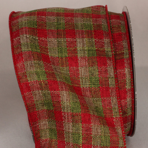 """Cherry Red and Green and Plaid Wired Craft Ribbon 4"""" x 20 Yards - IMAGE 1"""