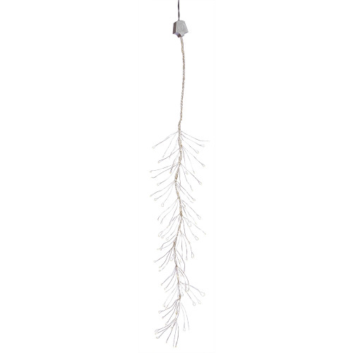 144 White Pre-Lit LED Mini Snow Branch Christmas Lights - 5 ft Silver Wire - IMAGE 1