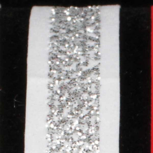 "Silver and White Glitter Wired Craft Ribbon 0.5"" x 60 Yards - IMAGE 1"