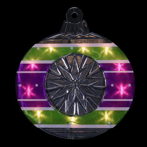 """15.5"""" Lighted Purple and Green Shimmering Ornament Christmas Window Silhouette Decoration - IMAGE 1"""