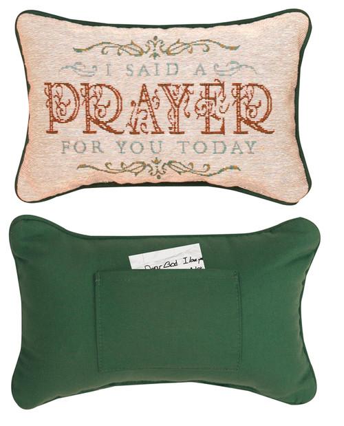 """12.5"""" Red and Green """"Prayer"""" Rectangular Throw Pillow - IMAGE 1"""