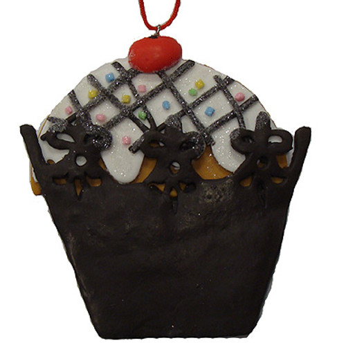 Sweet Memories Brown Cupcake with Cherry on Top Christmas Ornament - IMAGE 1