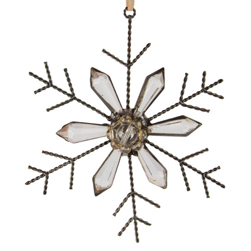 """5"""" Bronze and Clear Rustic Jeweled Faceted Tip Snowflake Christmas Ornament - IMAGE 1"""