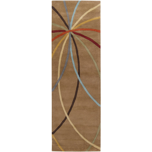 3' x 12' Blue and Orange Hand Carved Rectangular Wool Area Throw Rug Runner - IMAGE 1