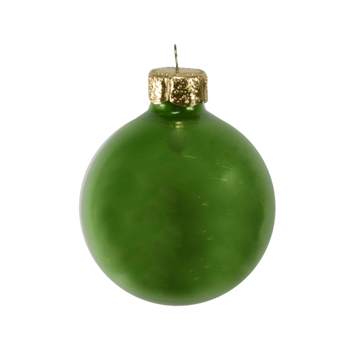 """28ct Soft Green Pearl Glass Christmas Ball Ornaments 2"""" (50mm) - IMAGE 1"""