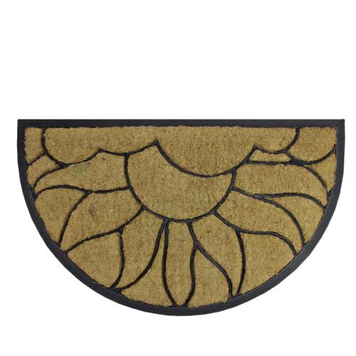 Brown and Black Sunflower Half Round Doormat 29 x 17 - IMAGE 1