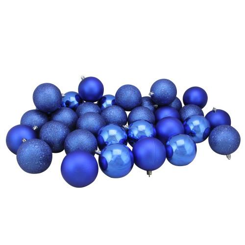 "32ct Lavish Blue Shatterproof 4-Finish Christmas Ball Ornaments 3.25"" (80mm) - IMAGE 1"
