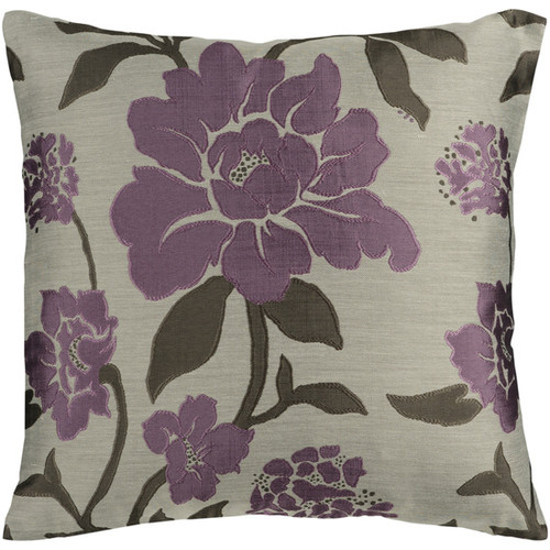 """22"""" Purple and Gray Contemporary Floral Square Throw Pillow - Down Filler - IMAGE 1"""
