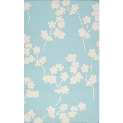 2' x 3' Falling Flowers Sky Blue and White Hand Woven Rectangular Wool Area Throw Rug - IMAGE 1