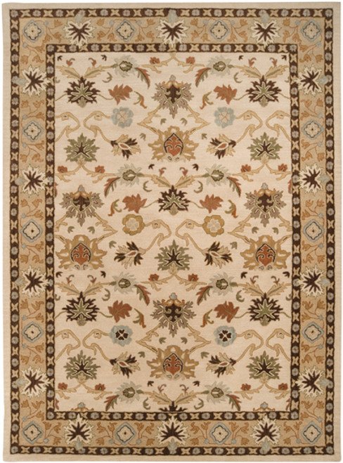 9' x 12' Beige and Sage Green Floral Hand Tufted Rectangular Area Throw Rug - IMAGE 1