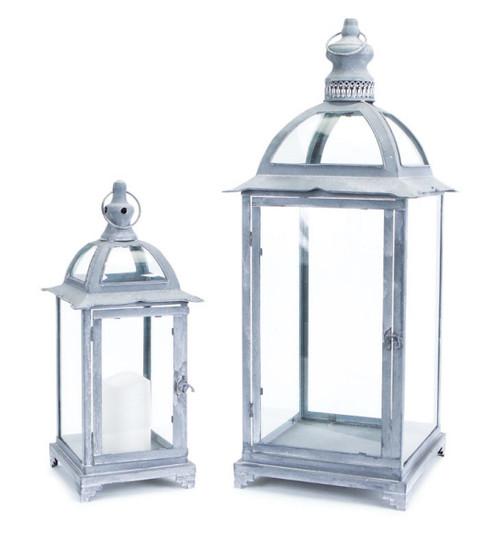 "Set of 2 Pagoda Crest Weathered Iron and Glass Pillar Candle Holder Lanterns 26"" - IMAGE 1"