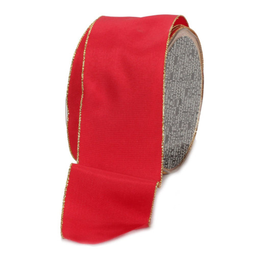"""Crimson Red and Gold Solid Wired Craft Ribbon 2.5"""" x 27 Yards - IMAGE 1"""