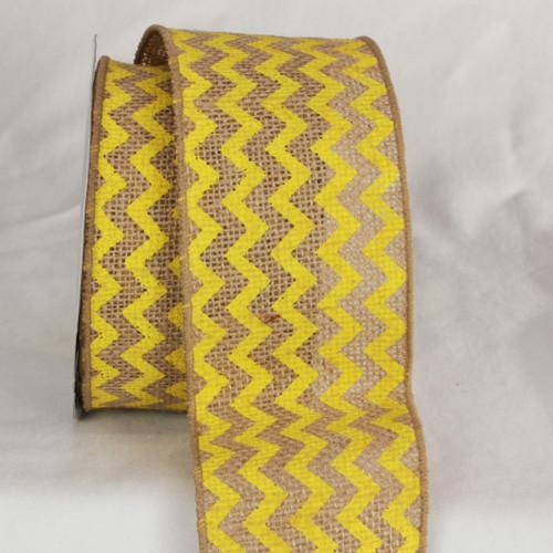 "Tan and Yellow Burlap Chevron Print Wired Craft Ribbon 3"" x 40 Yards - IMAGE 1"