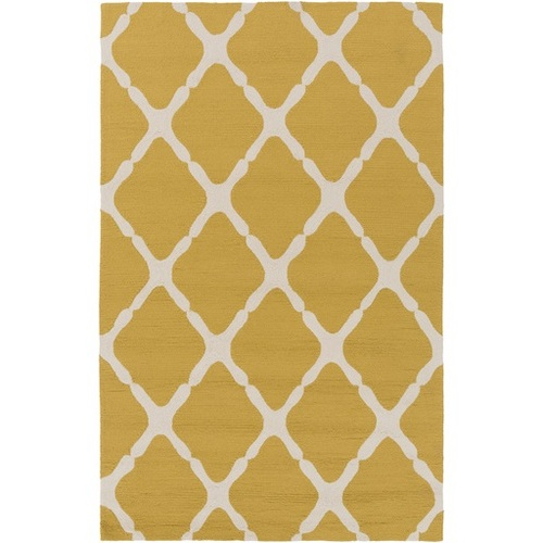 3' x 5' Mending Fences Mustard Yellow and Cream Hand Hooked Area Throw Rug - IMAGE 1
