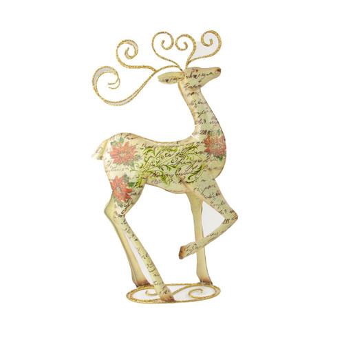 "17"" Decorative Vintage Postcard Poinsettia Gold Giltter Reindeer Christmas Table Top Decoration - IMAGE 1"