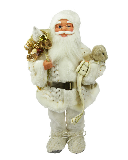 """19"""" White and Gold Nordic Santa Claus Christmas Tabletop Figurine - IMAGE 1"""